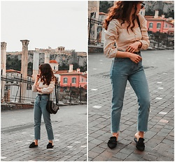 Theoni Argyropoulou - Bershka Puff Sleeves Blouse, Mango Straight Jeans, Bag, Stradivarius Belt, Flat Mules - Spring Fashion Trends 2019 U need to Know Somethingvogue.com