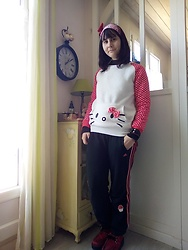 Lulu Longstocking - Hello Kitty Hairband, Hello Kitty Sweater, T.U.K. Footwear Tuk Platforms, Adidas Pants - Punk Kitty