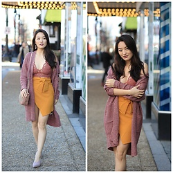 Kimberly Kong - Moxie Apparel Oversized Cardigan, Asos Mustard Mini Skirt, Free People Bralette - Find of the Day: The Mustard Miniskirt ($40)