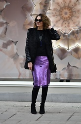 Butterfly Petty - Zaful Jacket, Guess Bag, Mohito Boots - Sequin skirt