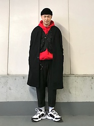 ★masaki★ - Neuw Denim Coat, Rothco Tactical Vest, Camber Hoodie, Ch. Trousers, Nike Air Monarch - Vintage Mix