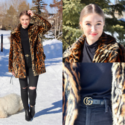 Taylor Doucette - Ralph Lauren Leopard Fur Coat, Gucci Belt, Citizens Of Humanity Distressed Jeans - Forever - Billy Raffoul