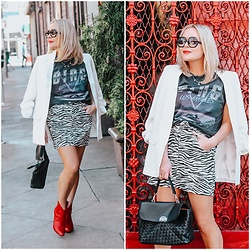 Zia Domic - Anine Bing Band Tee, Charlotte London White Blazer, Zara Zebra Skirt - Zebra x Blazer x Band Tee