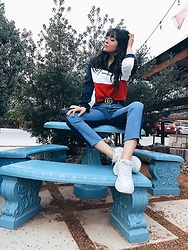 Laura Reynoso - H&M Top, Zara Sneakers, Gucci Belt, Nobodydenim Jeans - Palm Spring look