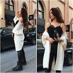 Anastasia Kotliar - Guess Boots, Tory Burch Bag, Missguided Cardigan, Shein Top, Asos Leggins - BLACK X WHITE