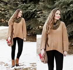 Emily S. - Zaful Knit Sweater, Felina Leggings, L.L. Bean Boots, Karlen Swiss Messenger Bag - Spring Thaw