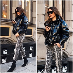 Anastasia Kotliar - Bershka Sunglasses, Monki Jacket, Zara Shoes, Mango Pants - SNAKE X BLACK