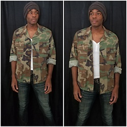 Thomas G - Zco Premium, Military Camouflage Jacket, C.C Beanie, Old Navy 3 Button V Neck 3/4 Sleeve Top - Camouflage Jacket