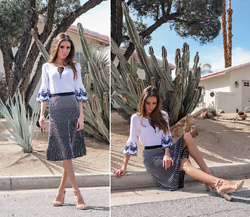 Jenny Mehlmann - Forever 21 Bell Sleeves Top, Bcbg Knit Midi Skirt - CARRIE BRADSHAW MEETS PALM SPRINGS