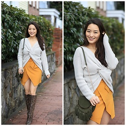 Kimberly Kong - Morning Lavender Cropped Sweater, Asos Pencil Skirt, Mgemi Snakeskin Boots - Remix: The Mustard Skirt, Styled for the Everyday Girl