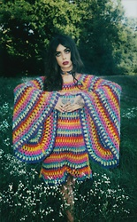 Muzzy Stardust - Fantasia Superstar Magical Rainbow Psychedelic Bell Sleeve Colorful Crochet Dress - Fantasia 🍄👁️🔻