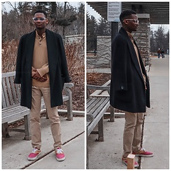 Fred Anyona - Zara Black Overcoat, Asos Beige Sweater, Gap Beige Chinos, Asos Beige And Burgundy Plimsoles, Quay Clear Frame Glasses - Beige on Beige