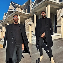 Fred Anyona - Zara Sweater, Zara Coat, Forever 21 Black Denim, Aldo Beige Chelsea Boots - Black on Black Essentials with Beige boots