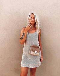 Fern Jenner - Glassons Knitted Dress, H&M Wicker Bag - Gold Tones