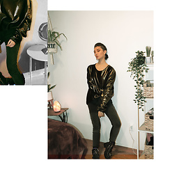 Deanna Kennedy - Scarab Streetwear Long Sleeve Gold Top, Urban Outfitters Black Jeans, Current Mood Black Boots - Golden Beetle