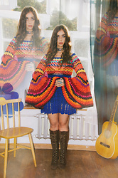Muzzy Stardust - 1960s Go Go Lace Up Boots, Fantasia Superstar 1960s Inspired Bell Sleeve Colorful Crochet Dress - MARIJKE 🍏