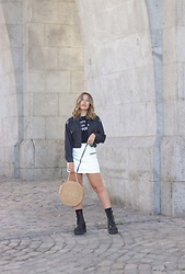 Claudia Villanueva - Shein Jacket, Zara T Shirt, Bershka Skirt, Shein Bag, Un Paso Mas Boots - White Leather