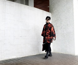 Flosmoony - Vintage Haori, Monki Pants - In Flame