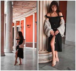 Theoni Argyropoulou - Off Shoulder Midi Dress, Cardigan, Mules - Styling your Summer Dresses when it's cold on somethingvogue