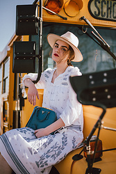 Andreea Birsan - Beige Fedora Hat, White Embroidered Midi Dress, Blue Saffiano Leather Bag - Fail proof spring outfit