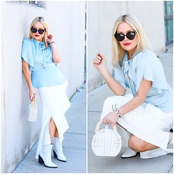Zia Domic - Cece By Cynthia Steffe Blue Blouse, Asos Ruffled Skirt - Baby Blues.
