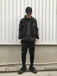 ★masaki★ - Kollaps Japanese Cap, Rothco Utility Vest, Ch. Jogger, Nike Air Monarch, H&M Hoodie - All Black Everything