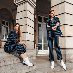 Jacky - Gant Suit, Flattered Boots - Spring Office Outfit: Striped Suit and White Boots