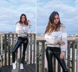 Jenny Mehlmann - H&M Sweatshirt, H&M Wet Effect Leggings, Fila Oversized Sneakers - DON'T SWEAT IT // thehungarianbrunette.com