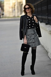 Butterfly Petty - Zara Skirt, Zara Blouse, Guess Bag, Calzedonia Tights, Zaful Jacket - Polka dots fashion trend