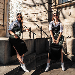 Jacky - Gestuz Dress, Minimum Shirt, Flattered Boots, Liebeskind Berlin Bag, Chimi Eyewear Sunglasses - Slip Dress combined with a white button-down shirt