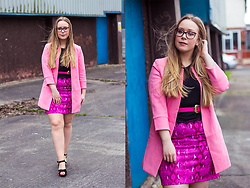 Emma Reay - Everything 5 Pounds Pink Skirt, Everything 5 Pounds Pink Collarless Duster Coat - Being Extra in Pink