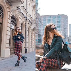 Ola Brzeska - Bershka Tartan Pants, Zaful Leather Jacket, Zibru Chunky Heels Boots - Punk rock