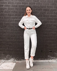 Vera Vonk - Bershka Denim Jumpsuit - All White