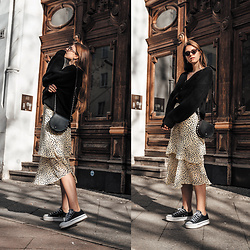 Jacky - Loavies Cardigan, Minimum Skirt, Converse Sneakers, Rebecca Minkoff Bag, Chimi Sunglasses - Spring Outfit: Midi Skirt and Cardigan