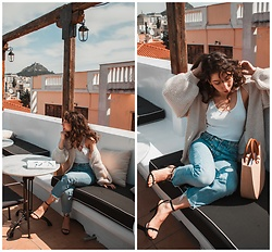 Theoni Argyropoulou - Cardigan, Tank Top, Mango Jeans, Zaful Straw Bag, Stradivarius Heeled Sandals - How Dress up your Jeans/T-shirt look on somethingvogue.com