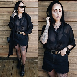 Priska Gomez - Real Eyez Black Sunglasses, Zara Long Black Coat, Pull & Bear Black Platform Boots, Ebay Black Bat Sleeves Shirt, Asos Bad News Belt, Pull & Bear Black Denim Skirt - Heavy Soul