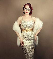 Charlotte S. - Unique Vintage Barbie Golden Girl Brocade Sheath Dress, Vecona Vintage Faux Fur White Stole Silverscreen Star, Ebay Cateye Clear Glasses With Rhinestones - Men seldom make passes at girls who wear glasses