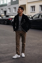 Kevin Elezaj - Steve Madden Sneakers, Filippa K Pants, Cos Sweater, Allsaints Jacket - April 3rd