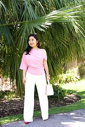 Kristen Tanabe - Zara Asymmetric Top, Diane Von Furstenberg White High Waisted Pants, Zara Wicker Handbag, Valentino Red Pointed Pumps, Miu Red Sunglasses, Kate Spade Cherry Earrings - Celebrating My 5th Blogiversary!