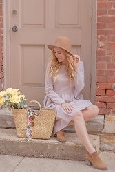BG by Christina L - Dokotoo Brown Striped Dress, Tan Booties, Straw Woven Handbag, Tan Hat - Little Brown Striped Dress