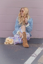 BG by Christina L - Bearpaw Denim Jacket, Bearpaw Lace Up Shearling Boots, Forever 21 Lavender Floral Maxi Dress - In Love With Lavender