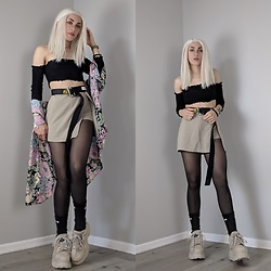 Fruitdandy - Buffalo London Platform Boots, Fashion Nova Off Shoulder Crop, Victoria's Secret Robe, Expresa Skort, Heron Preston Industrial Belt - Spring