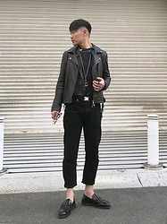 ★masaki★ - Ch. Leather Jacket, Neuw Denim Shirts, Neuw Denim Jeans, Gucci Necklace, Dr. Martens Shoes - Black Details