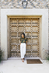 Courtney Y - Scotch & Soda Jungle Top, Aritzia White Wide Pant, Aldo Brown Strap Sandals - J u n g l e f e v e r