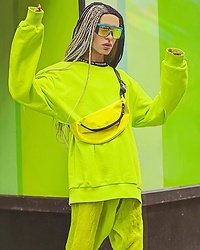 Milex X - Macon Clothing Sunglasses, Freedom Of Space Bum Bag, Freedom Of Space Sweatshirt - NEON GREEN