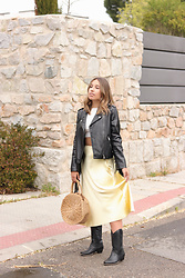 Claudia Villanueva - Asos Jacket, Shein Top, Zara Skirt, Shein Bag, Ulanka Boots - Yellow Silk