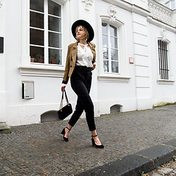 Catherine V. - Asos Hat, Loavies Blazer, The Kooples Blouse, Loavies High Waisted Pants, Jonak Heels, Gucci Marmont Bag - MIXING HIGHS AND LOWS