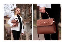 Aleksandra Wądołowska - Dune London Brown Little Bag, Lookbook Store White Blazer, Stradivarius Black Jeans - Sunny Monday