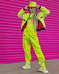 Milex X - Kanari Sunglasses, Triple Mischief Top, Triple Mischief Pants, Laa Woof Jacket, Ego Shoes - NEON YELLOW