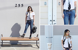 Dana Nguyen - Wilson's Leather Backpack, Dr. Martens Boots, Mudd T Shirt, Yesstyle Belt, Cheap Monday Jeans, Forever 21 Sunglasses - RIP Cheap Monday